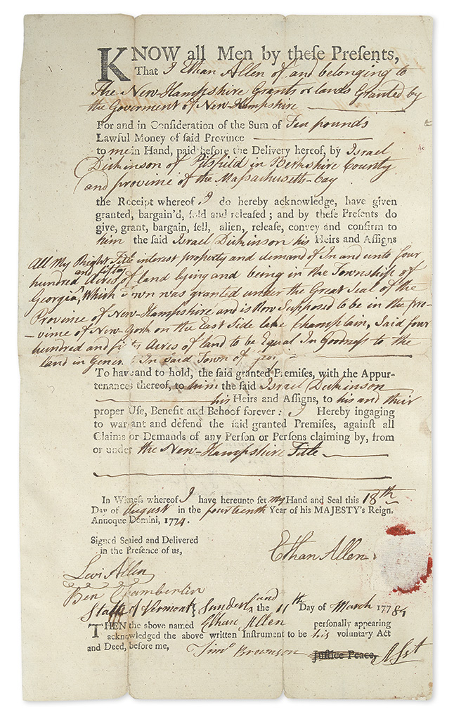(VERMONT.) ALLEN, ETHAN. Partly-printed Document Signed,