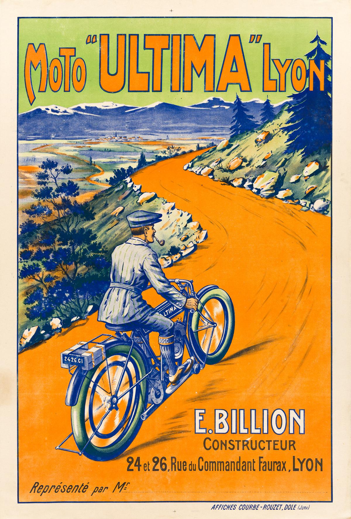 DESIGNER UNKNOWN.  MOTO ULTIMA LYON. 47x32 inches, 119x81 cm. Affiches Courbe-Rouzet, Jura.