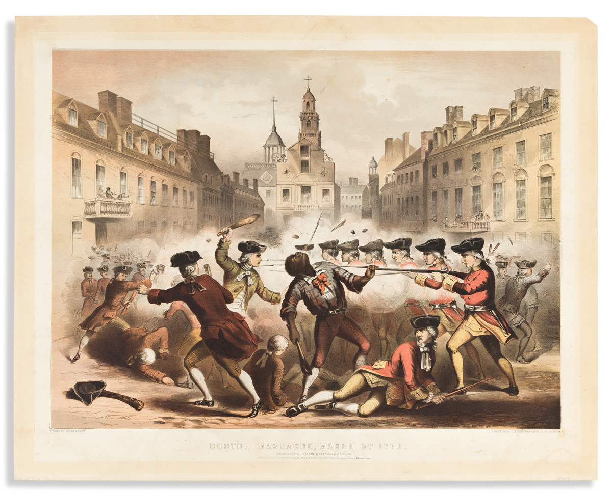 (REVOLUTION--PRELUDE.) Bufford, lithographer; after Champney. Boston Massacre, March 5th 1770.