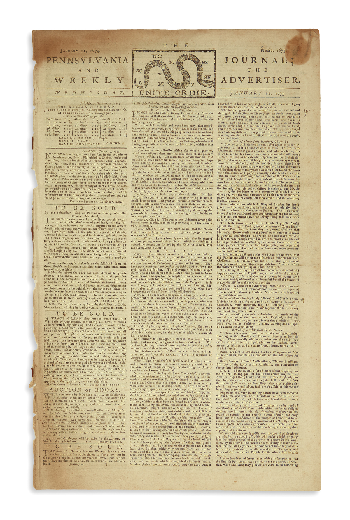 (AMERICAN REVOLUTION--PRELUDE.) The Pennsylvania Journal; and the Weekly Advertiser.