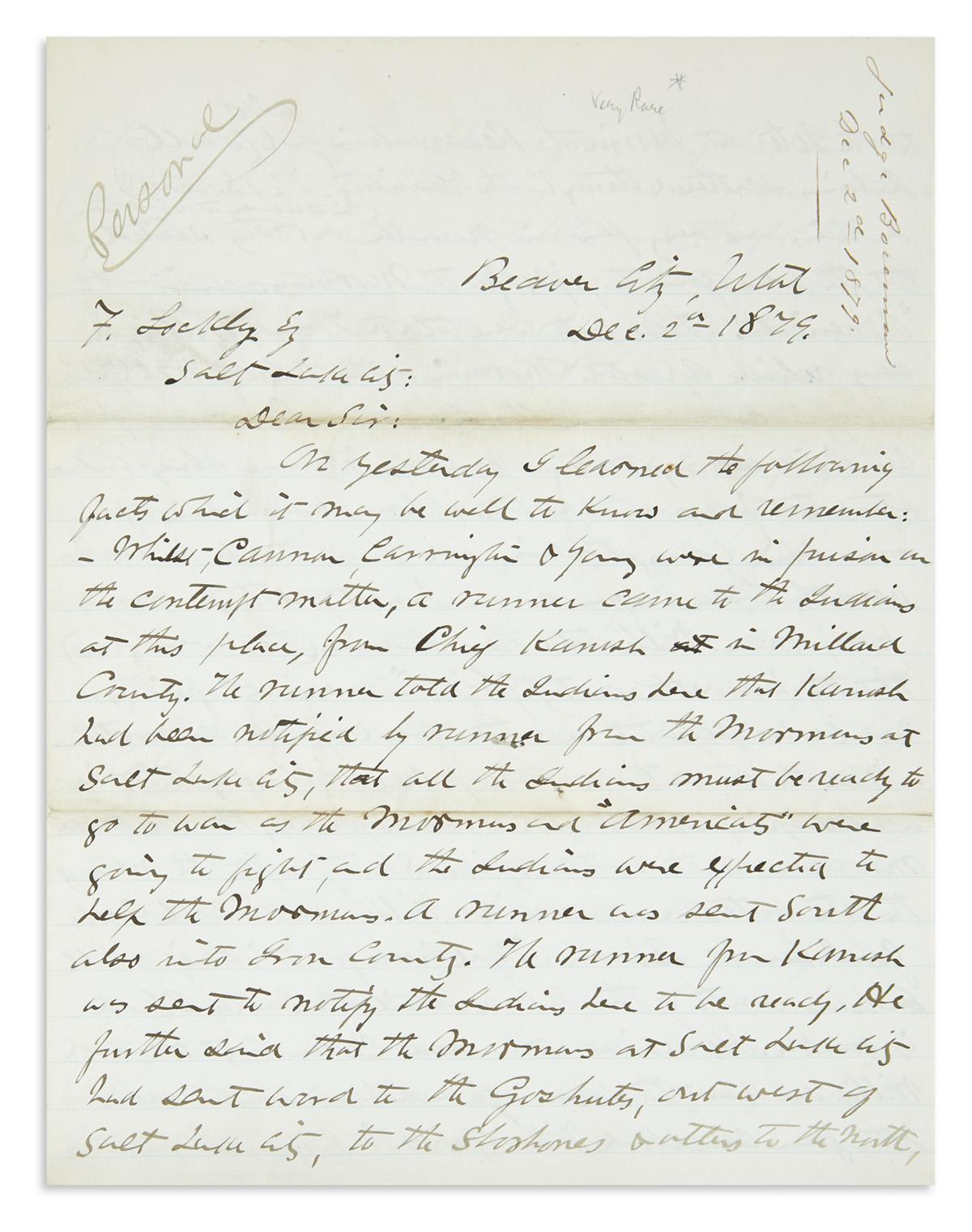 (UTAH.) File of letters to Salt Lake City Tribune editor Frederic Lockley.