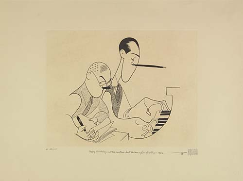 George and Ira Gershwin. Etching, 9 1/2x12 1/2 inches, oblong, full margins. Artists proof, signed and annotated AP XVI/XXX lowe
