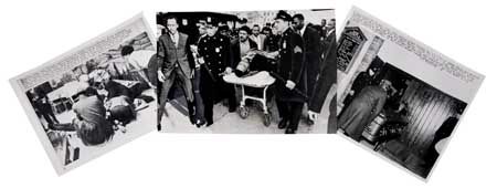 (MALCOLM X.) Group of thirteen glossy photographs of the assassination and funeral of Malcolm X.