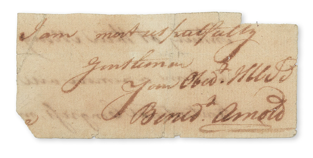 ARNOLD-BENEDICT-Clipped-portion-of-an-Autograph-Letter-Signe