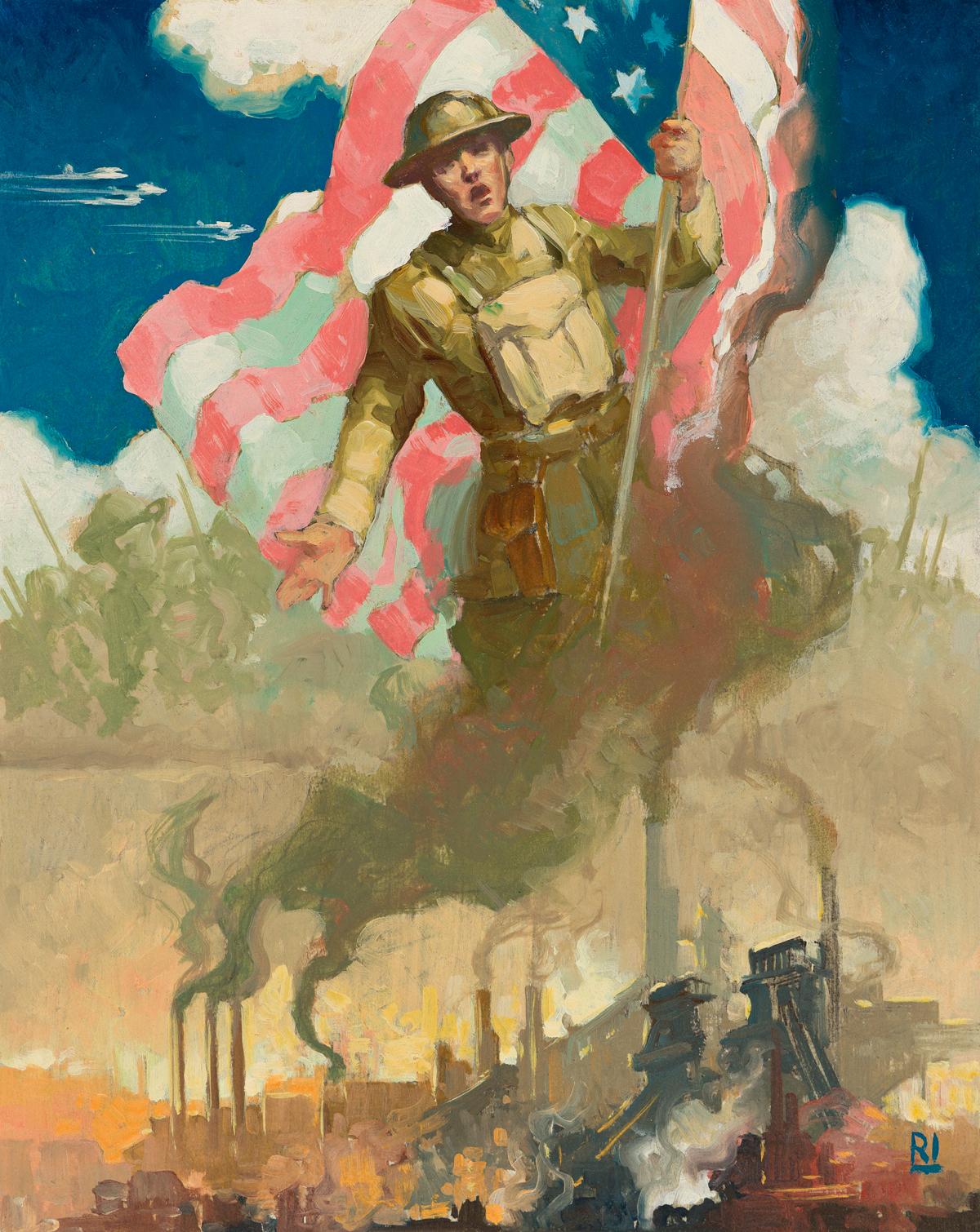 RALPH ILIGAN (1894-1960) Study for World War II Propaganda Poster.