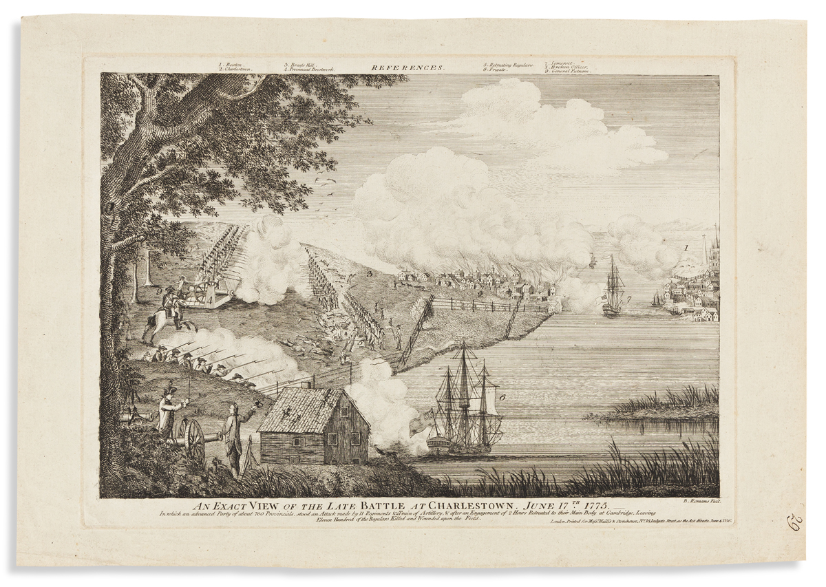 (REVOLUTION.) Bernard Romans, artist. An Exact View of the Late Battle at Charlestown, June 17th, 1775.