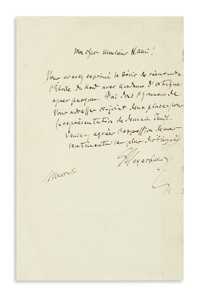 MEYERBEER-GIACOMO-Autograph-Letter-Signed-Meyerbeer-to-My-de