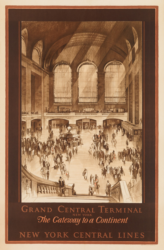 EARL HORTER (1883-1940). GRAND CENTRAL TERMINAL / NEW YORK CENTRAL LINES. 1927. 40x26 inches, 103x68 cm. Latham Litho. & Ptg. Co., Long