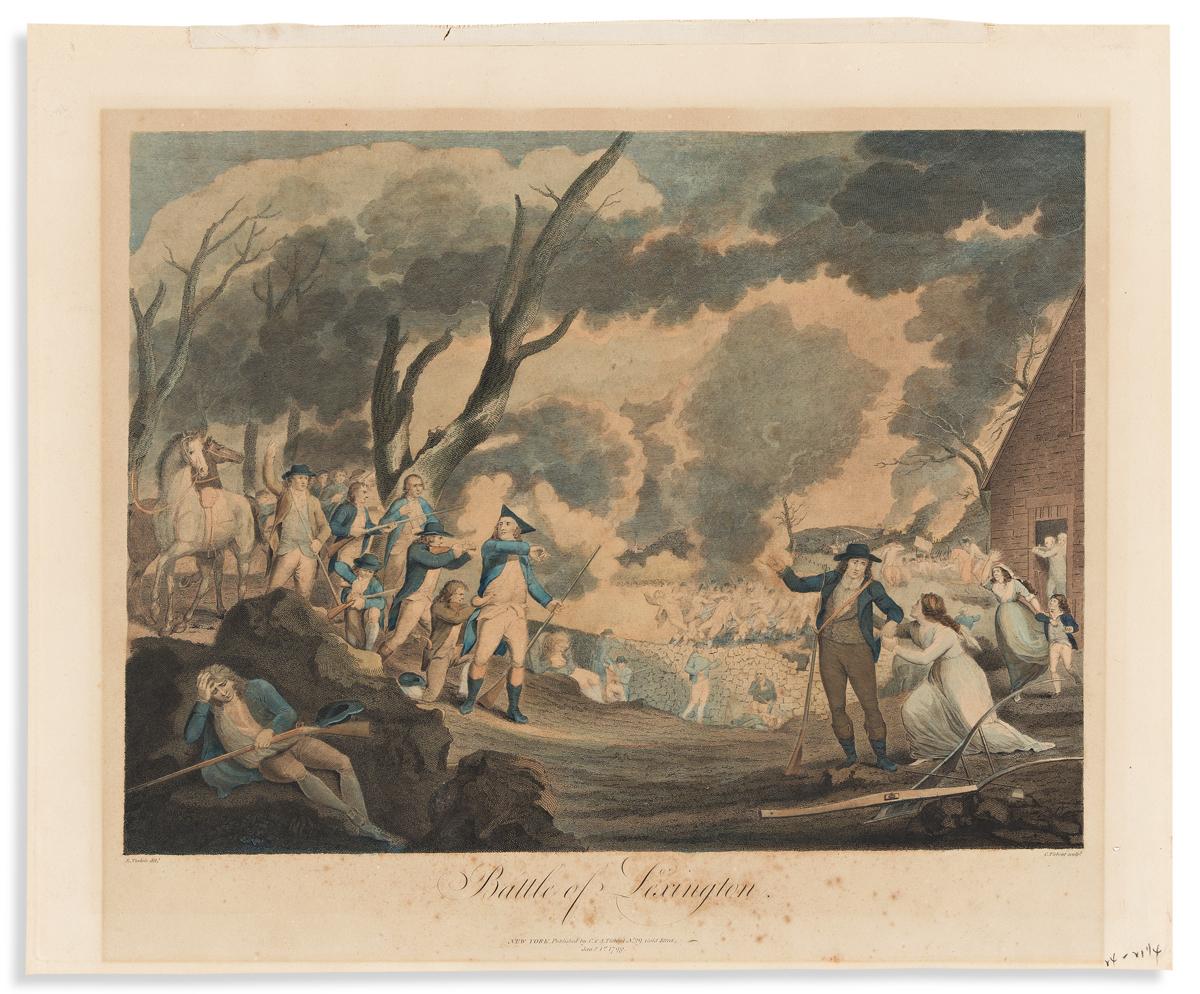 (REVOLUTION.) Cornelius Tiebout, engraver; after Tisdale. Battle of Lexington.