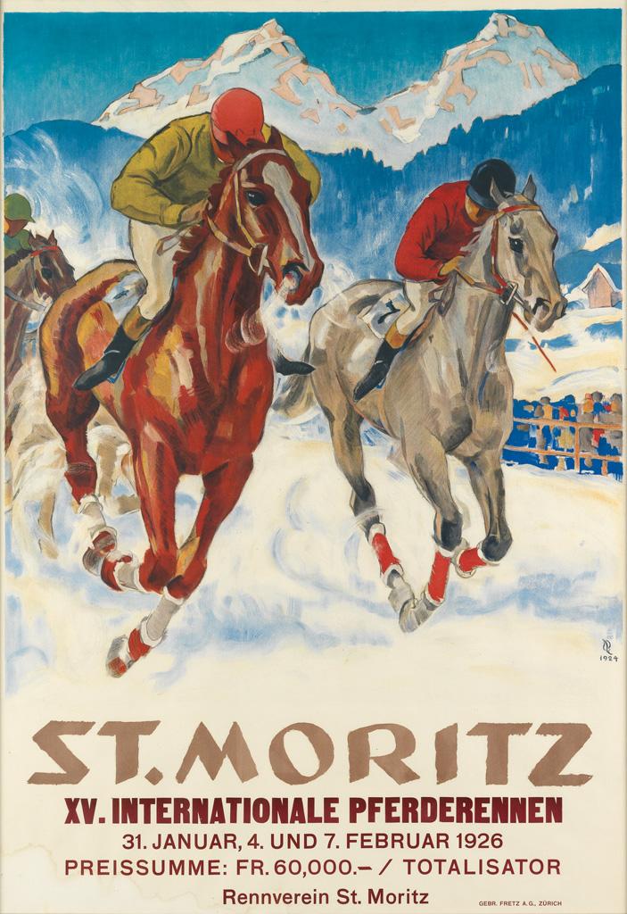 HUGO-LAUBI-(1888-1959)-ST-MORITZ--XV-INTERNATIONALE-PFERDERE