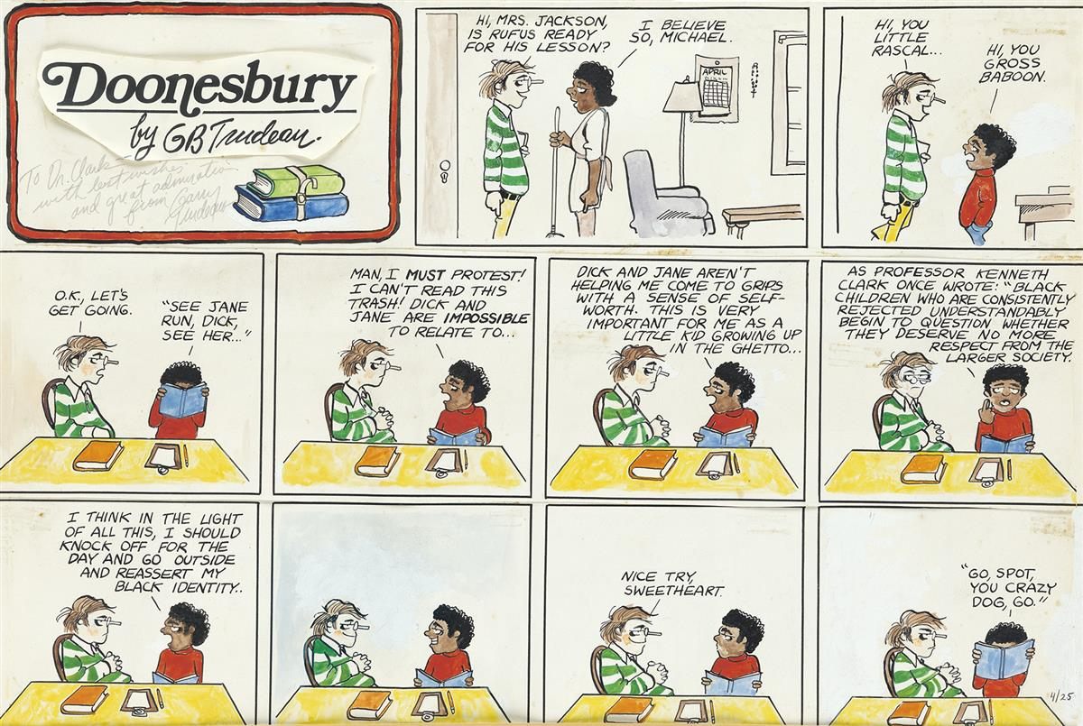 GARRY TRUDEAU. Is Rufus Ready for his Lesson?