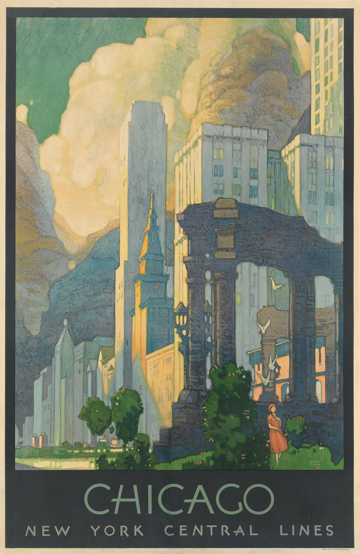 LESLIE RAGAN (1897-1972). CHICAGO / NEW YORK CENTRAL LINES. 1929. 40x26 inches, 101x66 cm. Latham Litho & Ptg. Co., Long Island City.