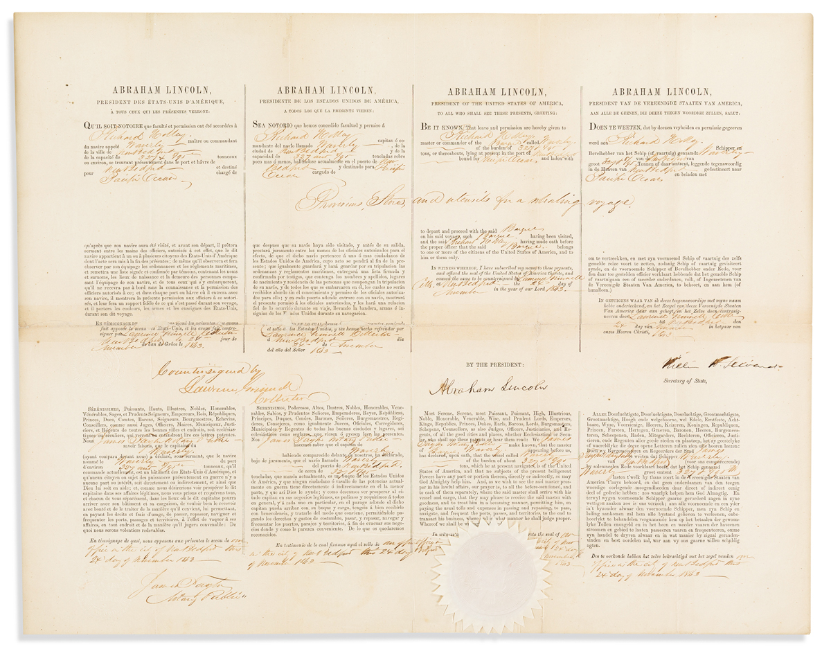 LINCOLN, ABRAHAM. Partly-printed Document Signed, as President,