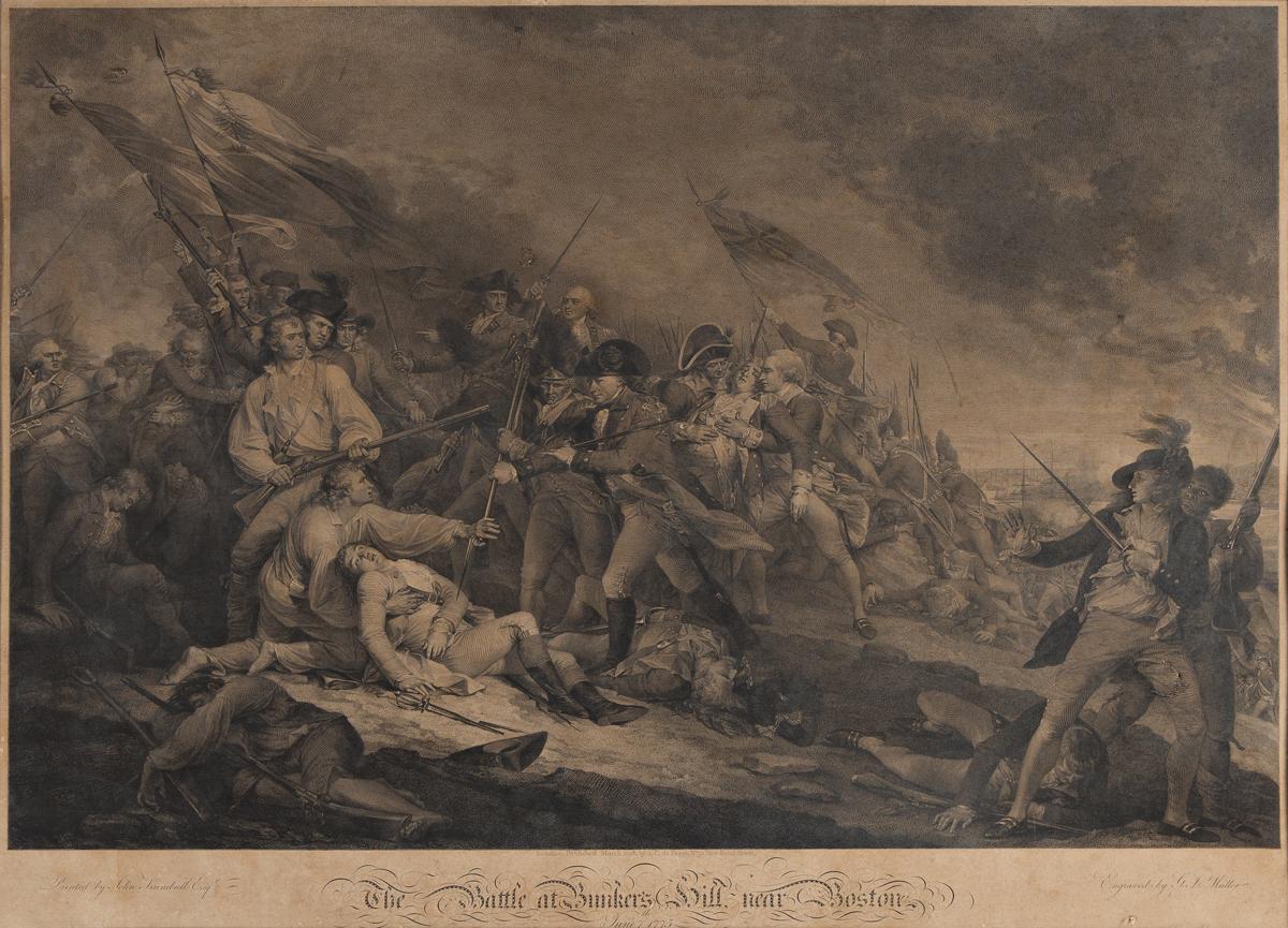 (REVOLUTION.) J.G. Müller, engraver; after John Trumbull. The Battle at Bunkers Hill near Boston.