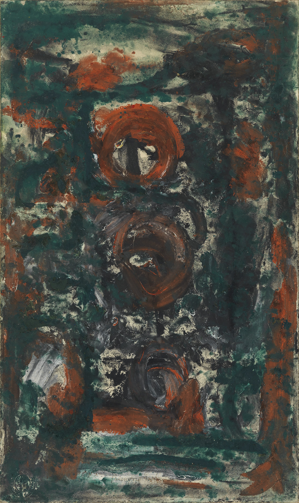 BEAUFORD DELANEY (1901 - 1979) Untitled (Composition in Green, Red and Black).