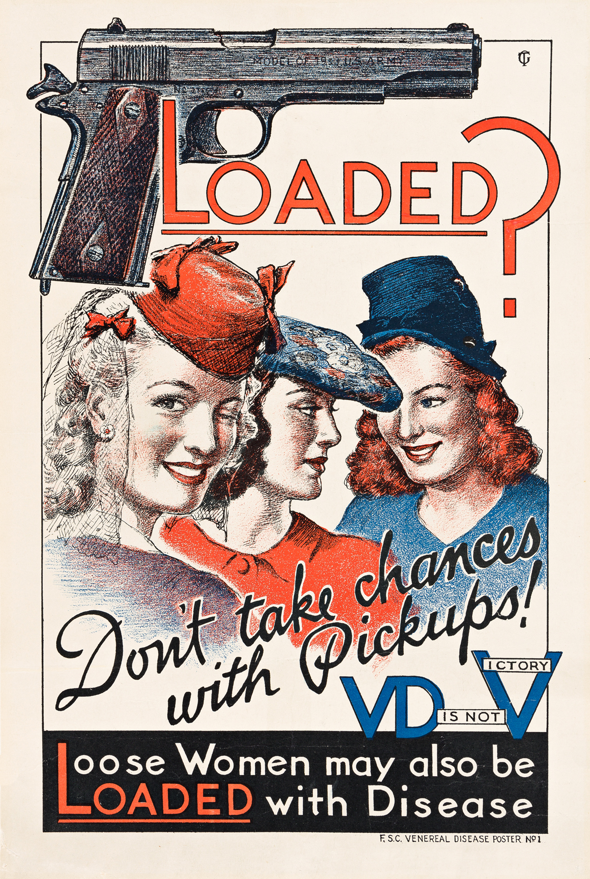 INITIALS UNKNOWN.  LOADED? DONT TAKE CHANCES WITH PICKUPS! / VD IS NOT VICTORY. Circa 1940s. 16x11¼ inches, 40½x27½ cm.