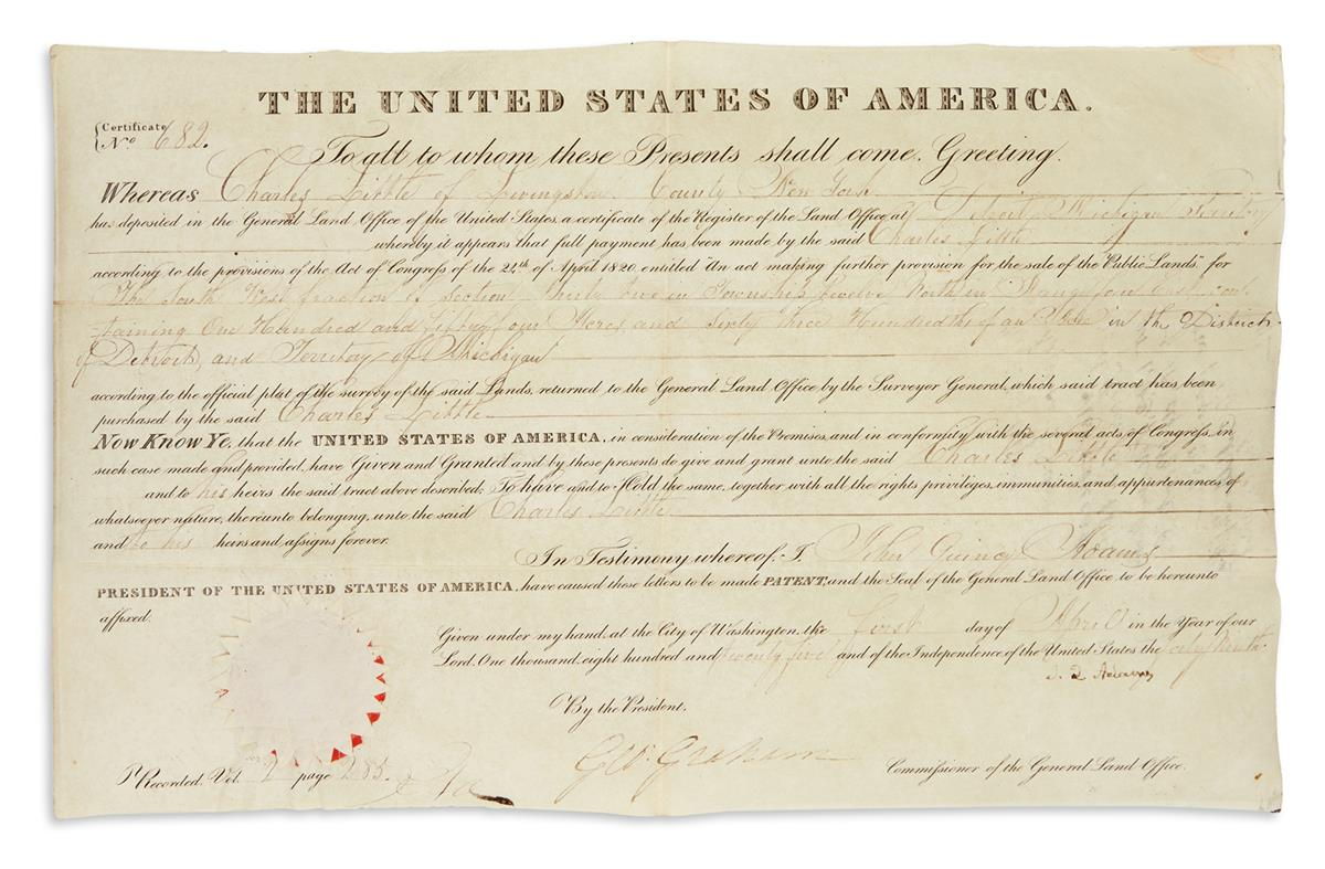 ADAMS-JOHN-QUINCY-Partly-printed-vellum-Document-Signed-JQ-A