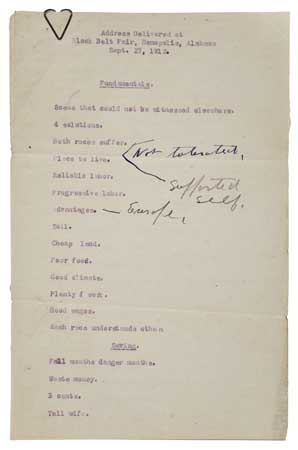WASHINGTON, BOOKER T. Address Delivered at Black Belt fair, Demopolis, Alabama, Sept. 27, 1912.