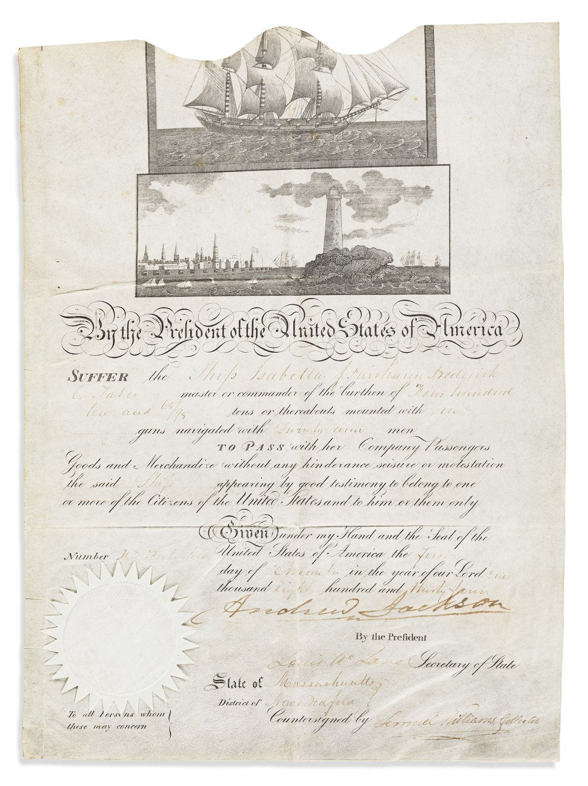 JACKSON, ANDREW. Partly-printed vellum Document Signed, as President,