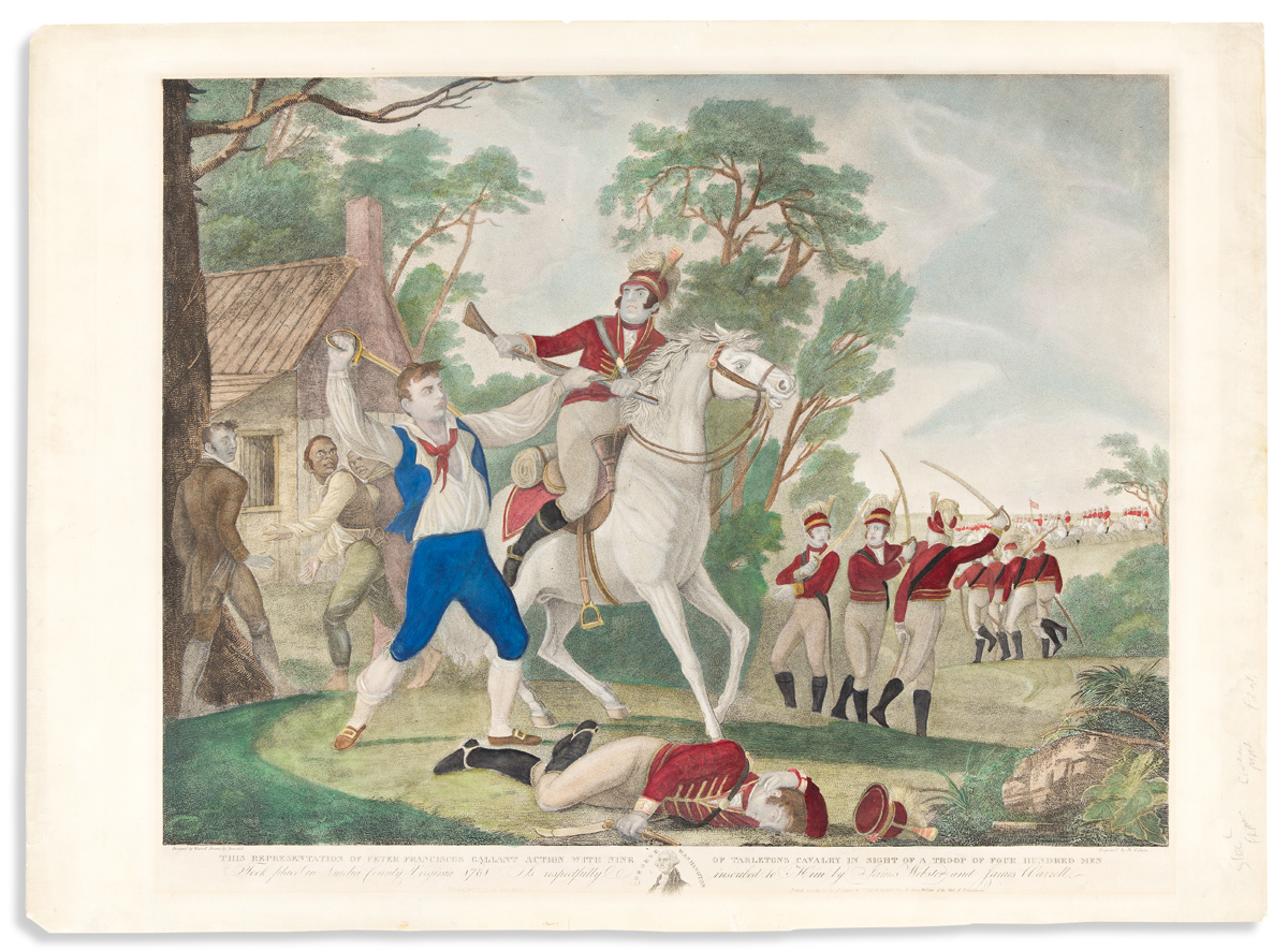 (REVOLUTION.) Edwin, engraver; after Warrell and Barralet. . . . Peter Franciscos Gallant Action with Nine of Tarletons Cavalry.