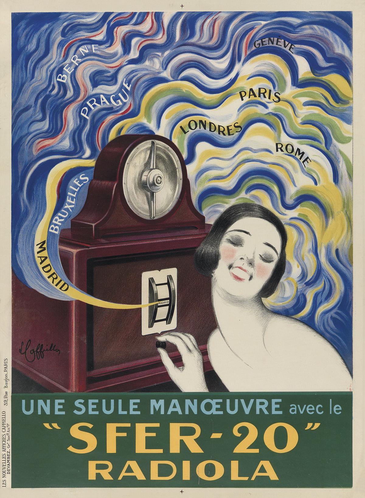LEONETTO CAPPIELLO (1875-1942). SFER - 20 RADIOLA. 1925. 31x23 inches, 79x 58 cm. Devambez, Paris.