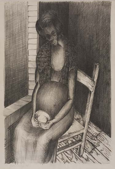 NORMAN LEWIS (1909 - 1979) Untitled (Seated Pregnant Woman with Cup).