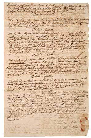 ALLEN, ETHAN. Articles of agreement for the Salisbury Furnace.