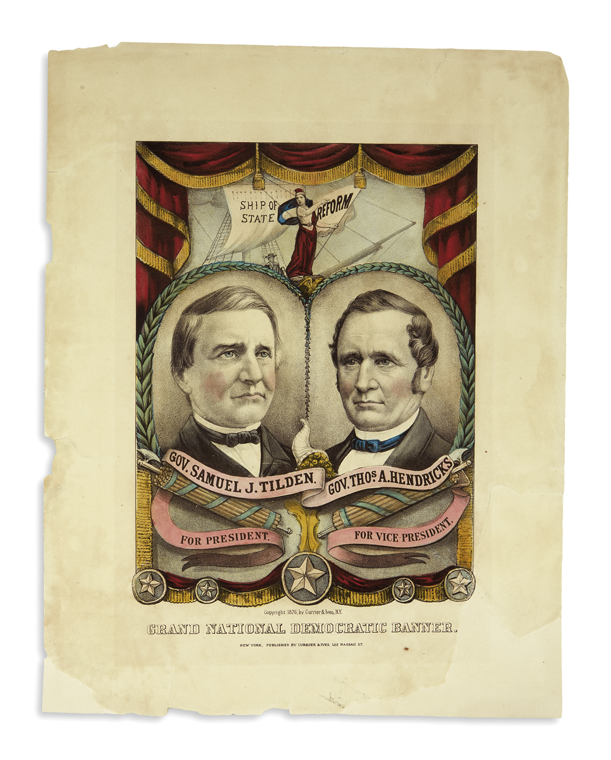 (PRESIDENTS--1876 CAMPAIGN.) Currier & Ives. Grand National Democratic Banner.