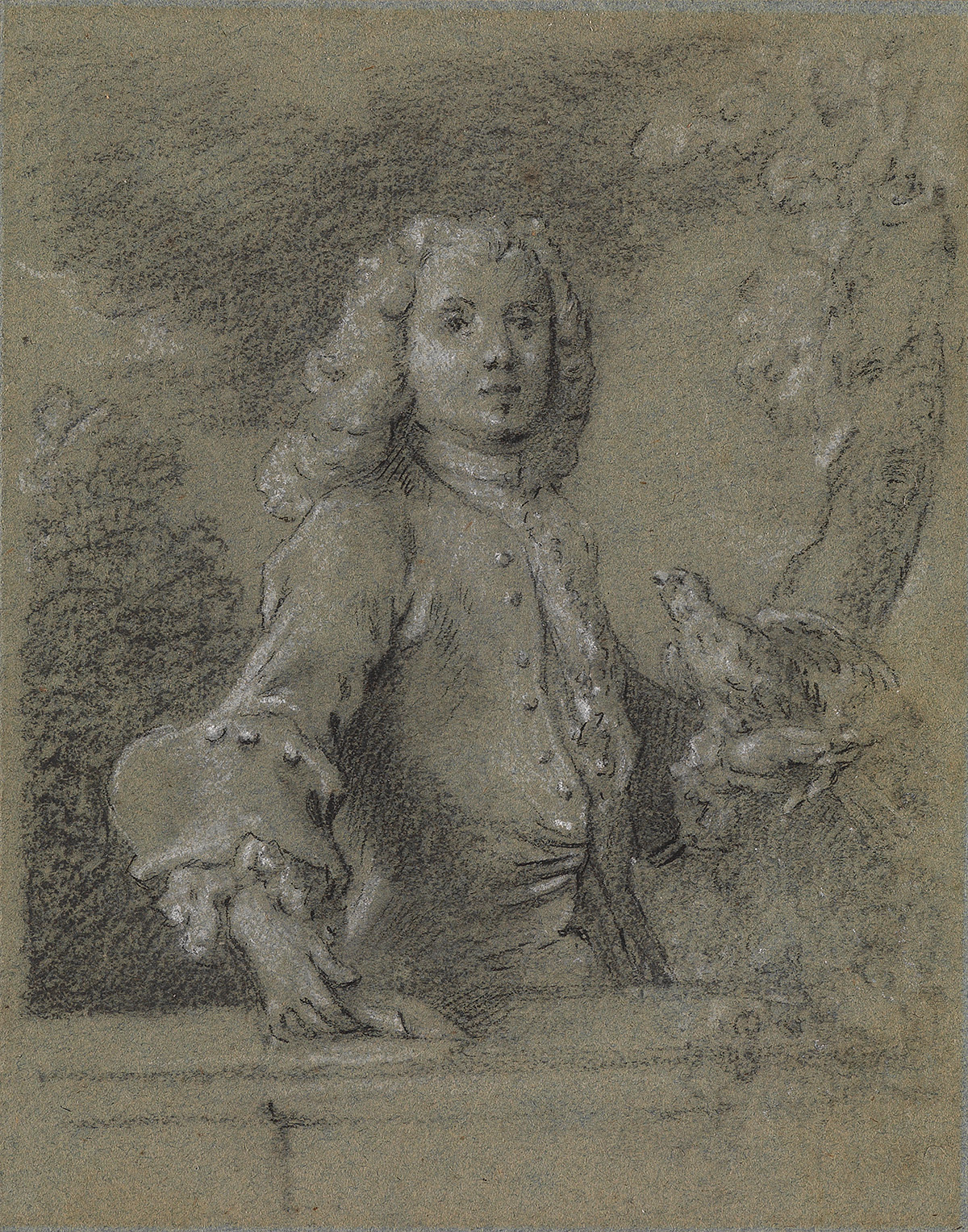 FRENCH-SCHOOL-18TH-CENTURY-Portrait-of-a-Man-with-a-Parakeet