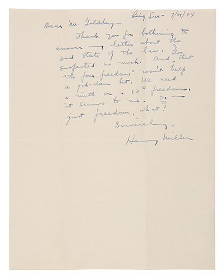 MILLER-HENRY-Two-Autograph-Letters-Signed
