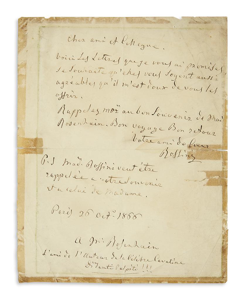 ROSSINI-GIOACCHINO-Autograph-Letter-Signed-Rossini-to-Mr-[Ja