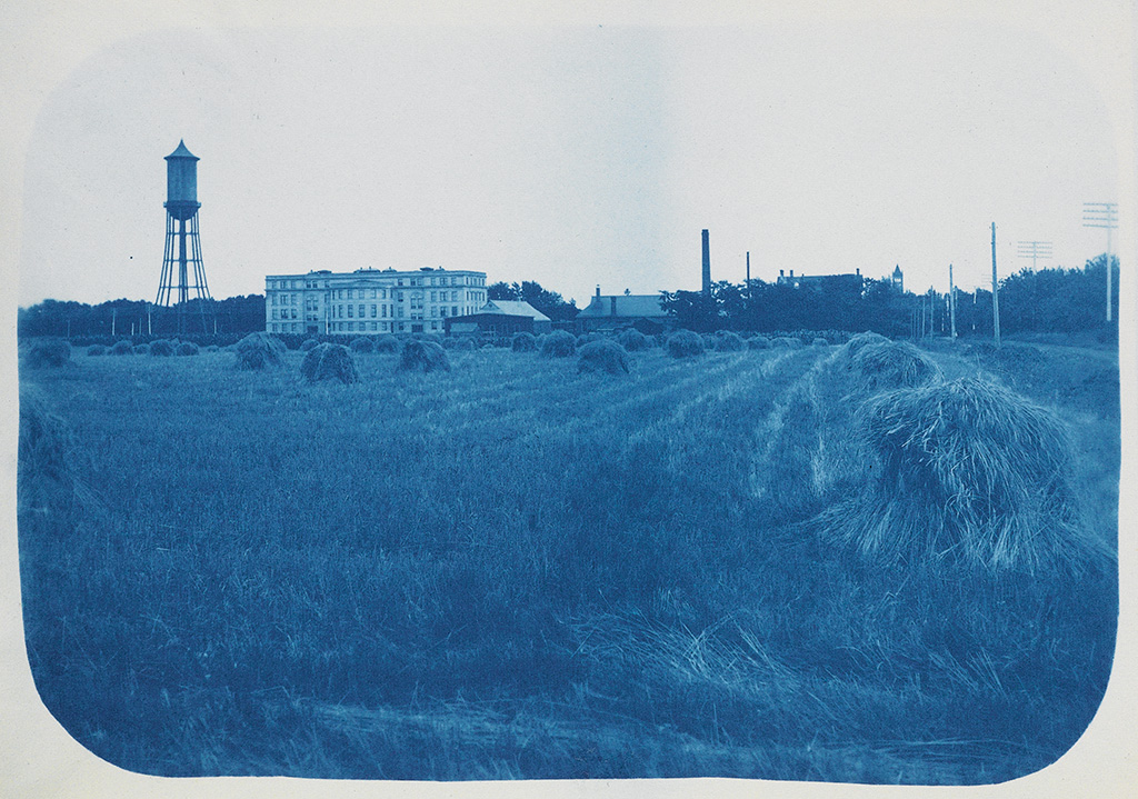 (IOWA CITY COLLEGE) Handsome cyanotype album compiled and, apparently, photographed, by Harry A. Little, Class of 08,