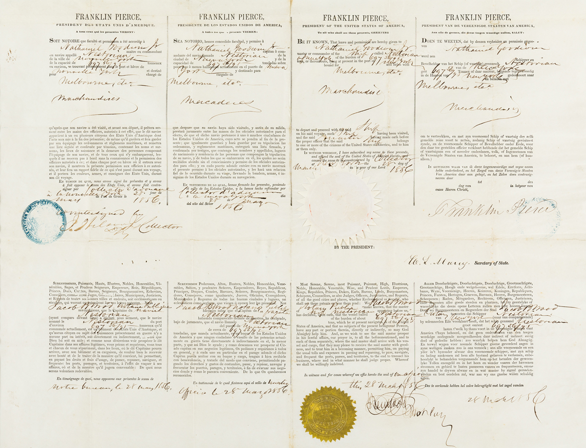 PIERCE, FRANKLIN. Partly-printed Document Signed, as President,
