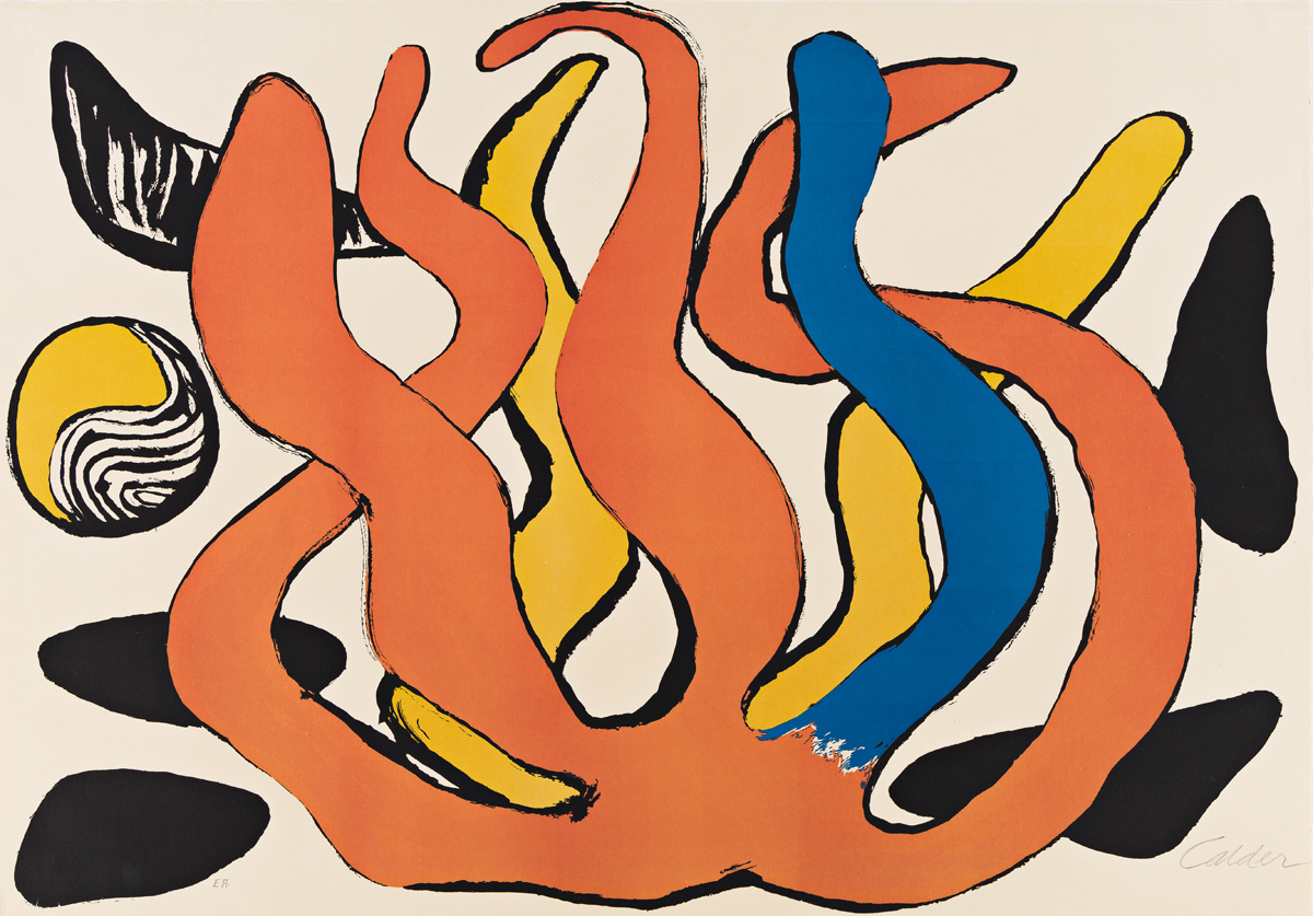 ALEXANDER CALDER Red, Yellow and Blue Coral with Shells.