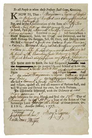 "(SLAVERY AND ABOLITION.) Partially Printed Document, Bill of Sale for ""Negro woman by name of Minnah,"""