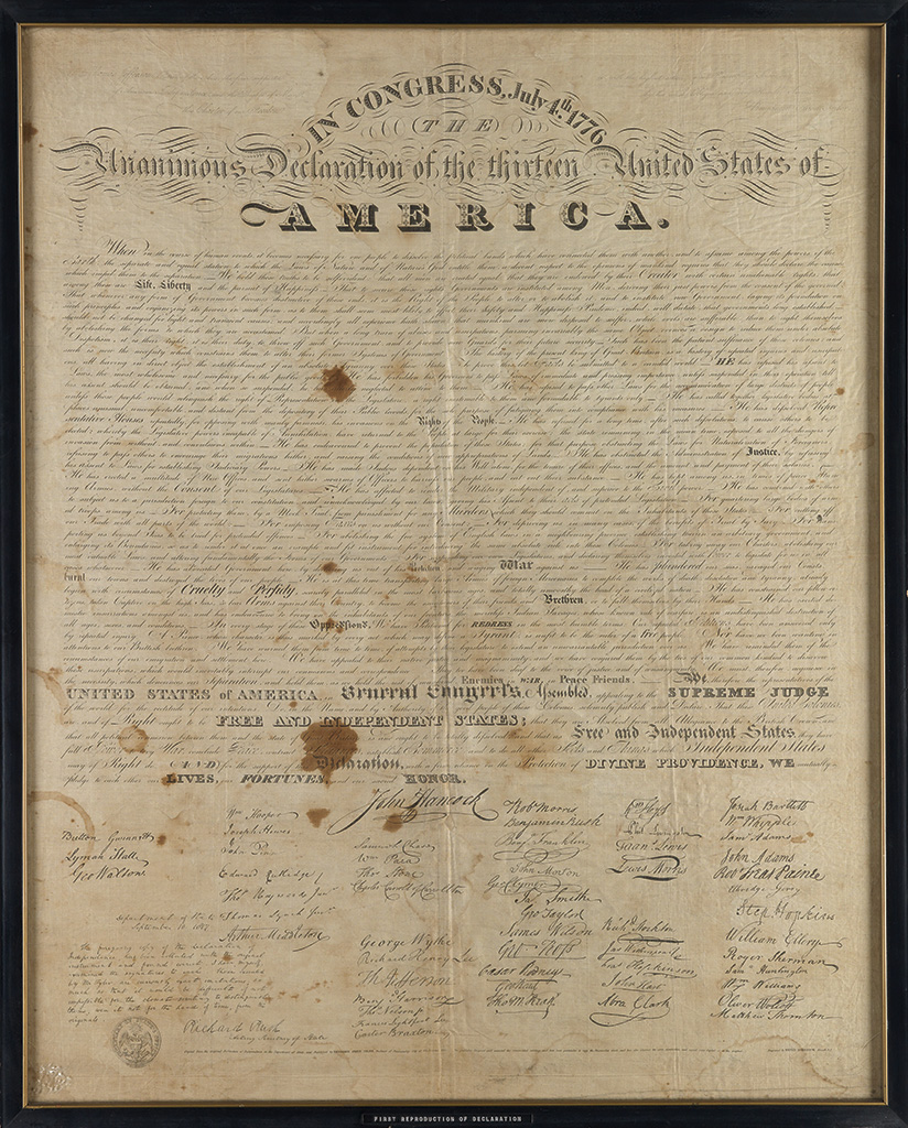 (DECLARATION OF INDEPENDENCE.) Tyler, Benjamin Owen; calligrapher. In Congress, July 4th 1776.