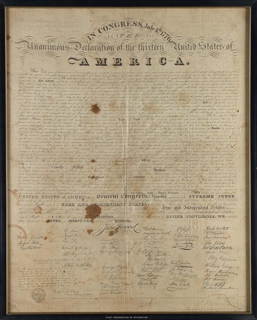(DECLARATION OF INDEPENDENCE.) Tyler, Benjamin Owen; calligrapher. In Congress, July 4th 1776.