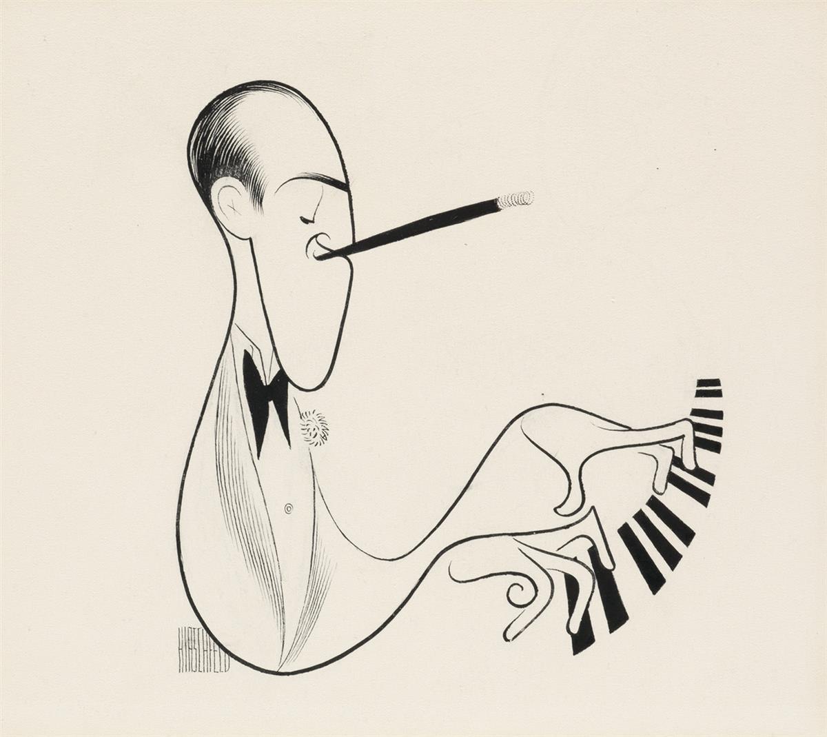 AL HIRSCHFELD. George Gershwin.  [CARICATURE / MUSIC / PIANO]