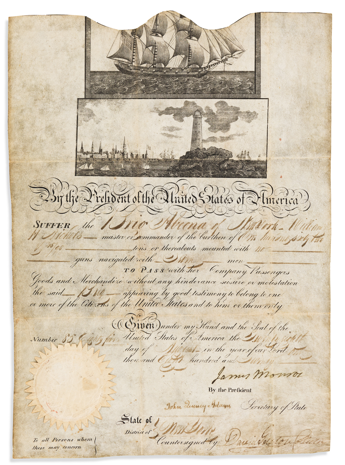 MONROE, JAMES. Partly-printed vellum Document Signed, as President,