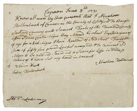 (SLAVERY AND ABOLITION.) Manuscript Bill of Sale for a Negro boy named Ki;