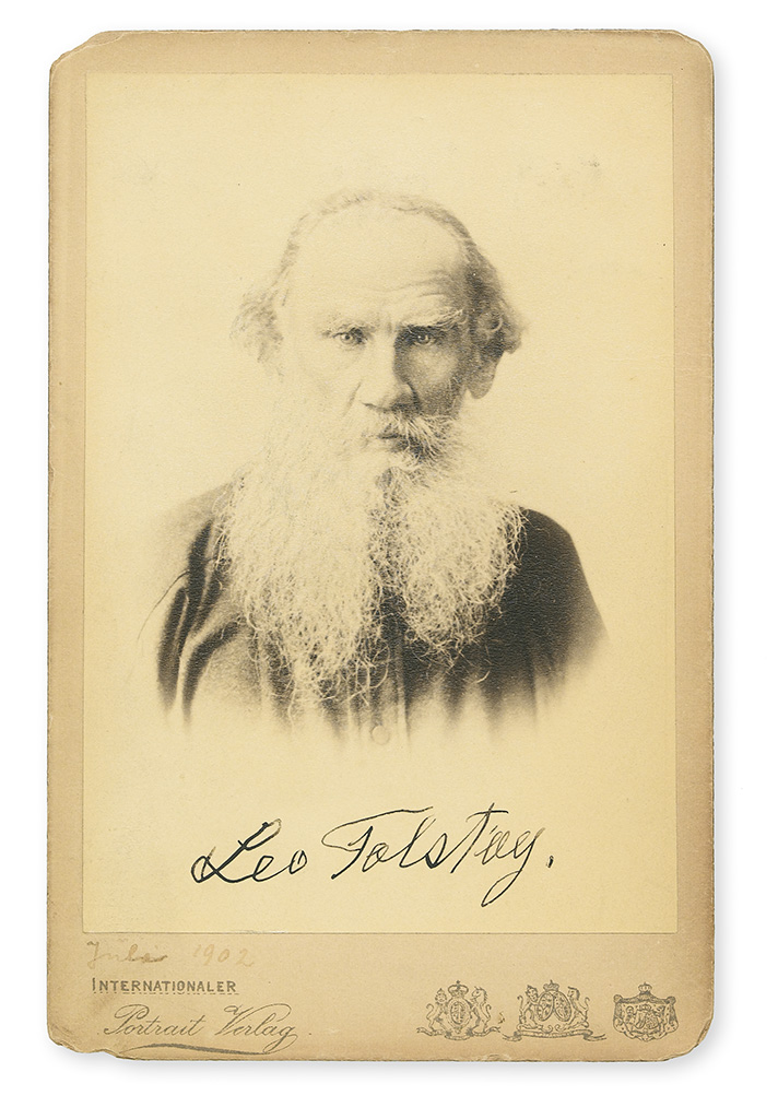 TOLSTOY, LEO. Photograph Signed, cabinet card,