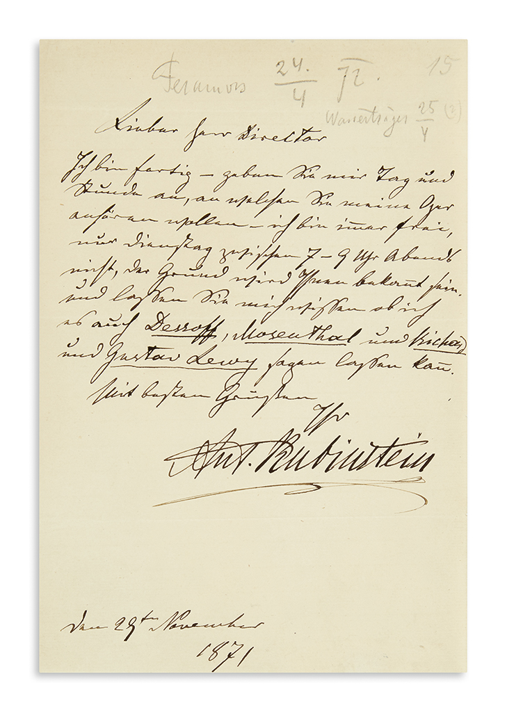 RUBINSTEIN-ANTON-Autograph-Letter-Signed-Ant-Rubinstein-to-J