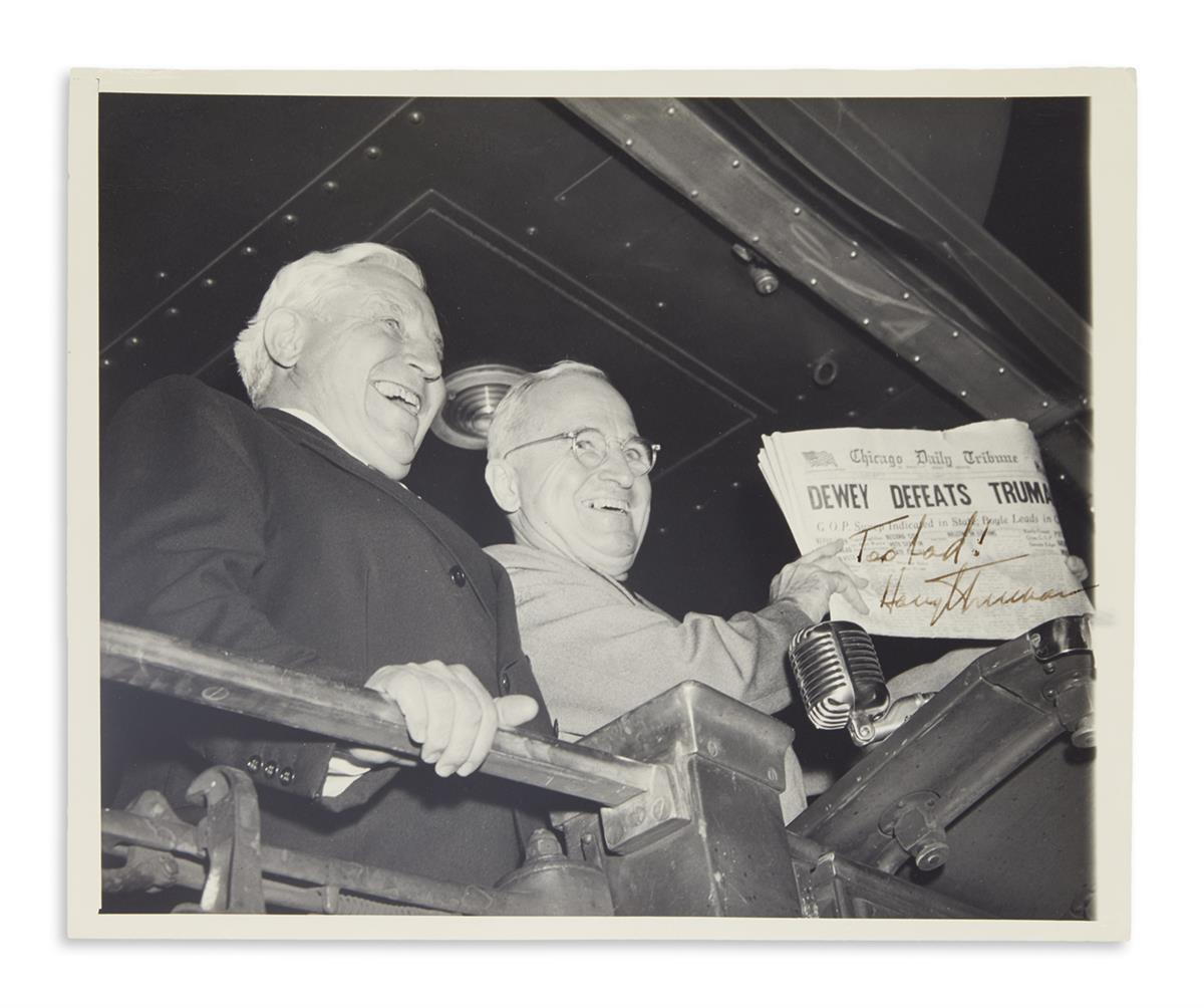 TRUMAN, HARRY S. Photograph Signed and Inscribed, Too bad!,