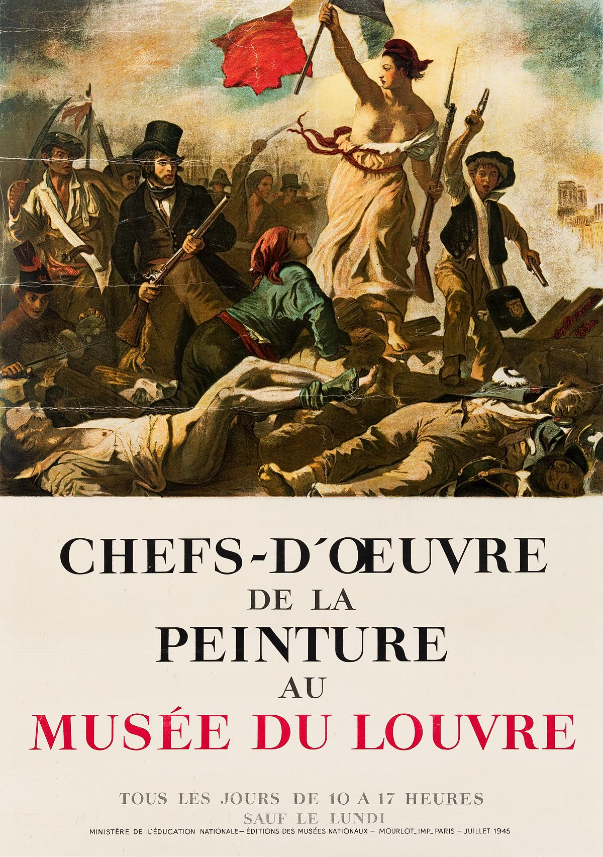 DAPRÈS-EUGÈNE-DELACROIX-(1798-1863)-CHEFS---DOEUVRE-DE-LA-PEINTURE-AU-MUSÉE-DU-LOUVRE-1945-28x20-inches-71x50-cm-Mourlot-Paris