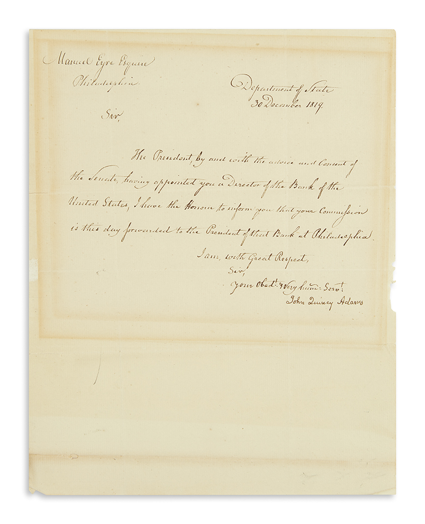 ADAMS-JOHN-QUINCY-Letter-Signed-as-Secretary-of-State-to-Man
