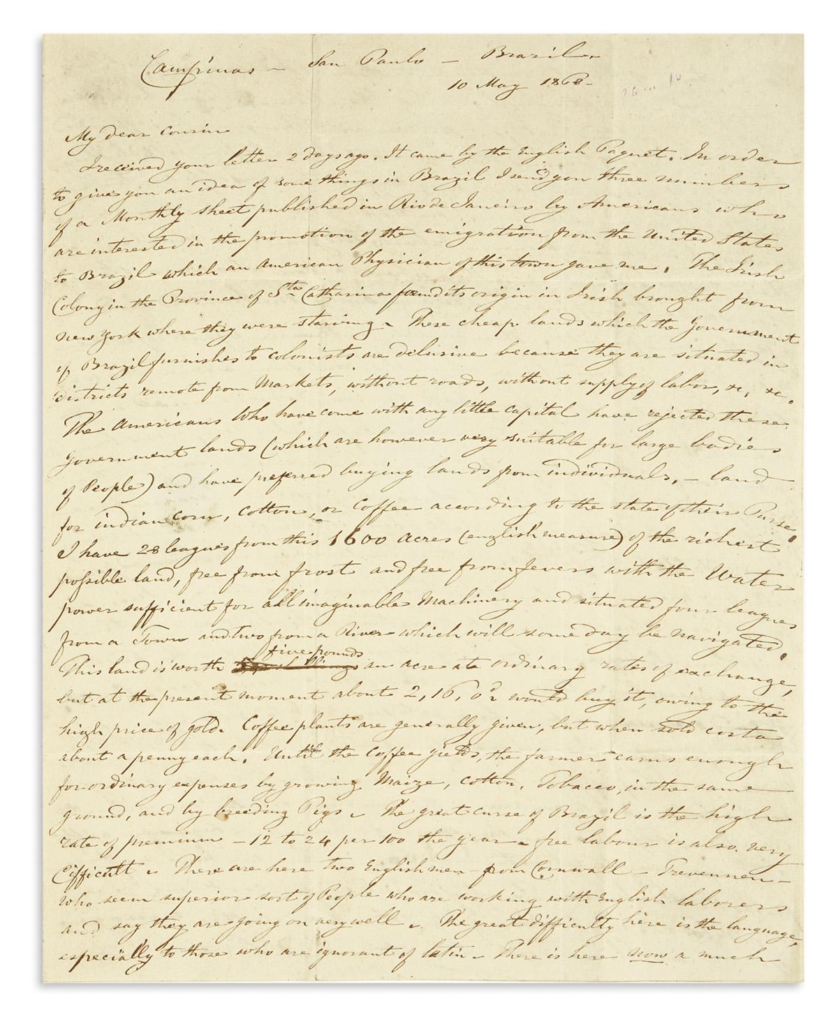 (BRAZIL)-Daunt-Richard-Gumbleton-Letter-describing-Irish-imm