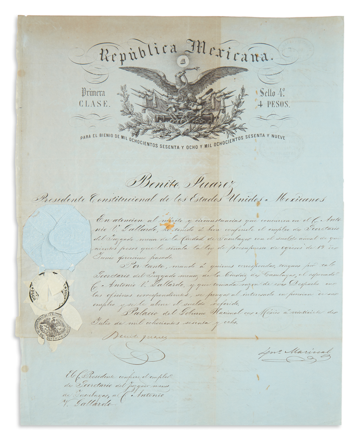 JUÁREZ-BENITO-Partly-printed-Document-Signed-as-President-ap