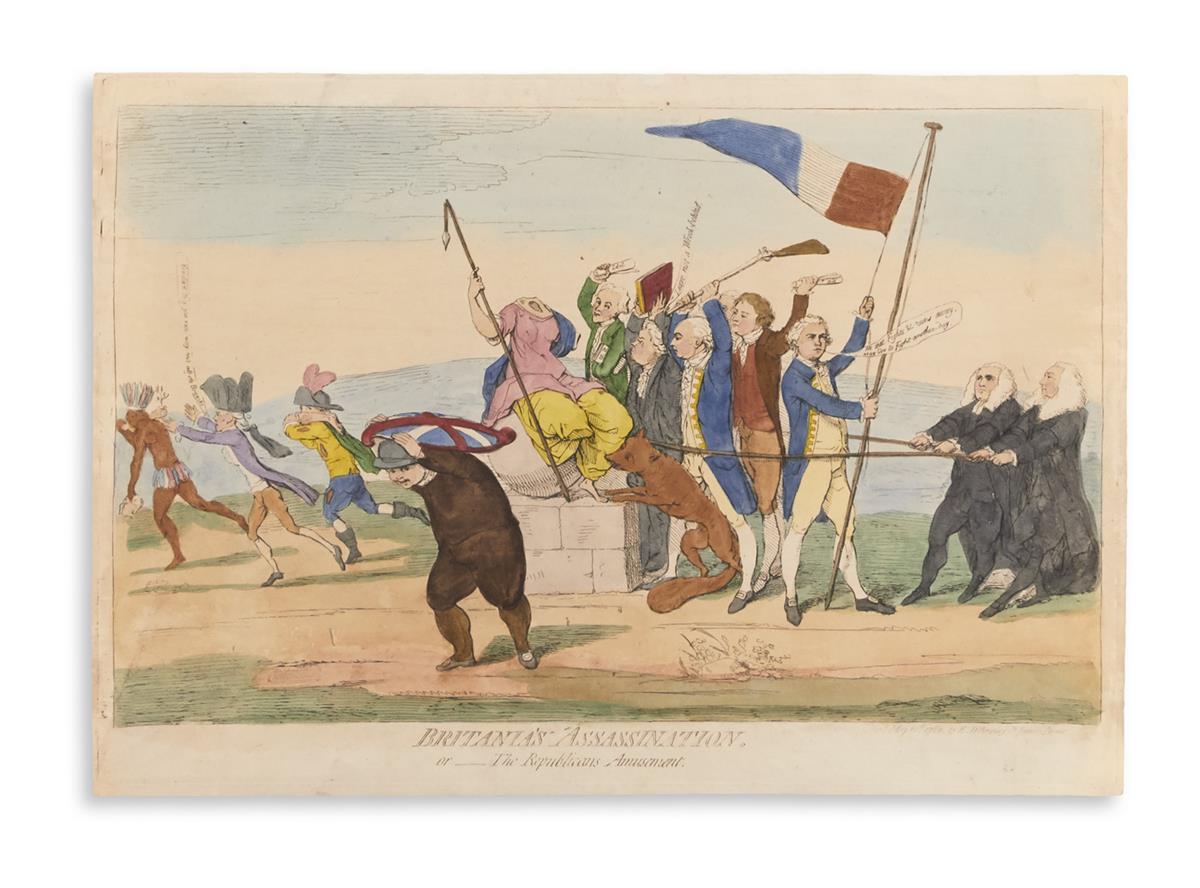 GILLRAY, JAMES. Britanias Assassination. Or__The Republicans Amusement.