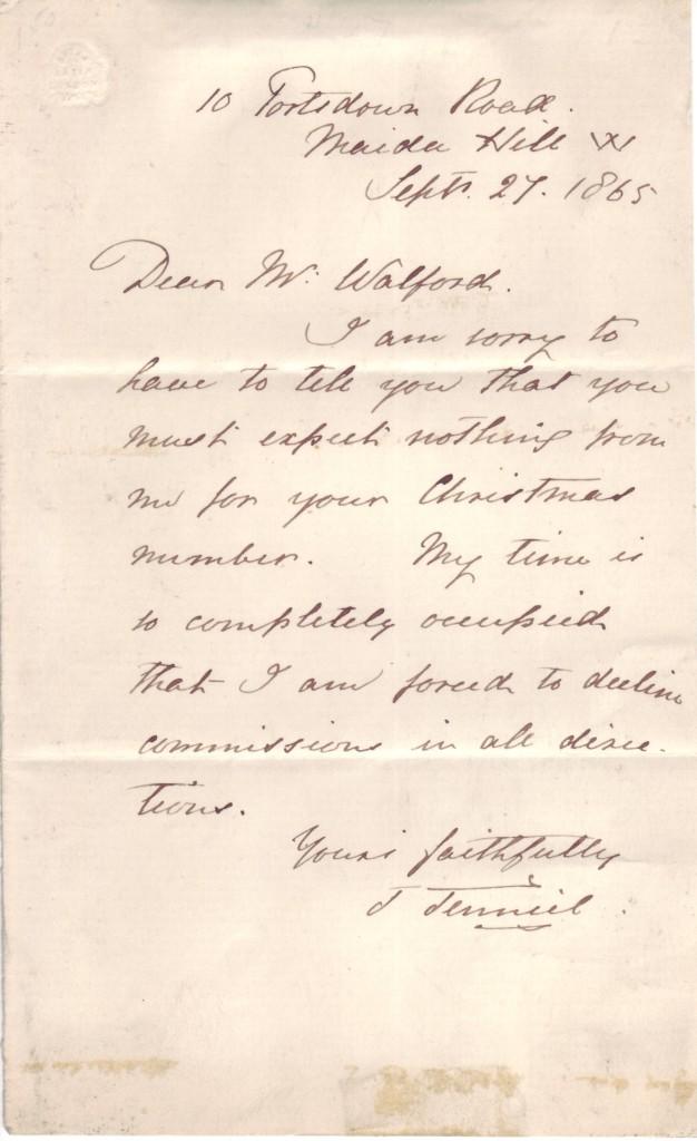 TENNIEL-JOHN-Autograph-Letter-Signed-J-Tenniel-to-Dear-Mr-Wa