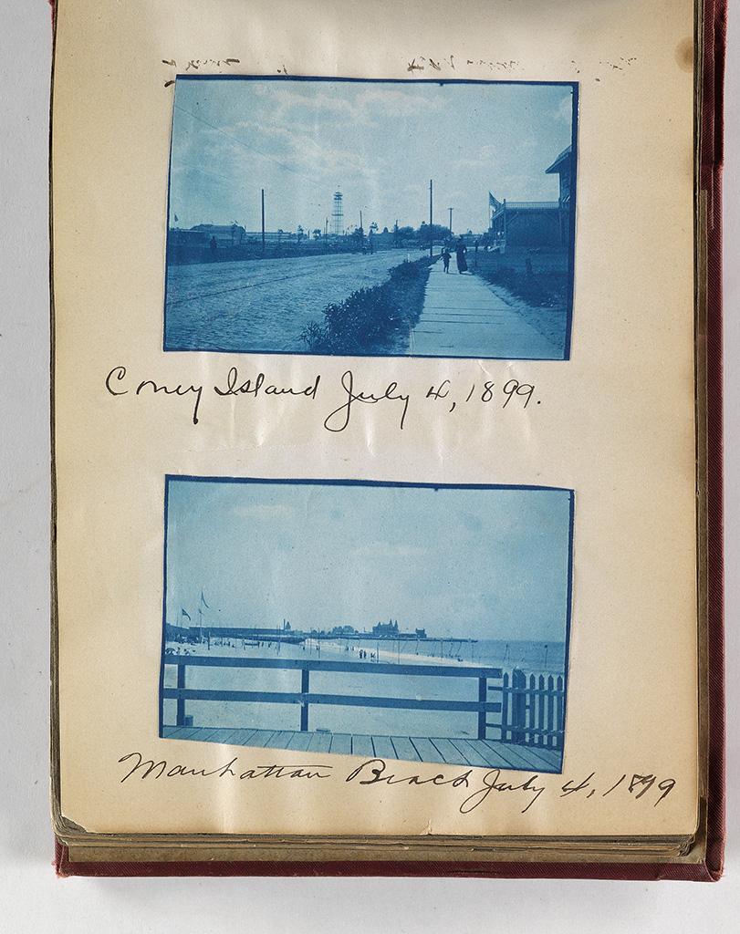 (MASSACHUSETTS CYANOTYPES) Album with approximately 200 charming cyanotype snapshots,